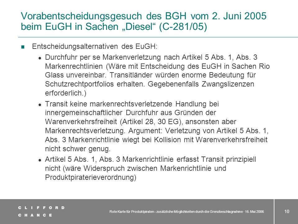 Rote Karte für Produktpiraten - zusätzliche Möglichkeiten durch die Grenzbeschlagnahme · 16. Mai 2006 10 Entscheidungsalternativen des EuGH: Durchfuhr
