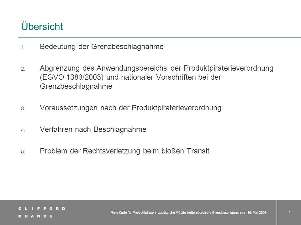Rote Karte für Produktpiraten - zusätzliche Möglichkeiten durch die Grenzbeschlagnahme · 16. Mai 2006 1 Übersicht 1. Bedeutung der Grenzbeschlagnahme