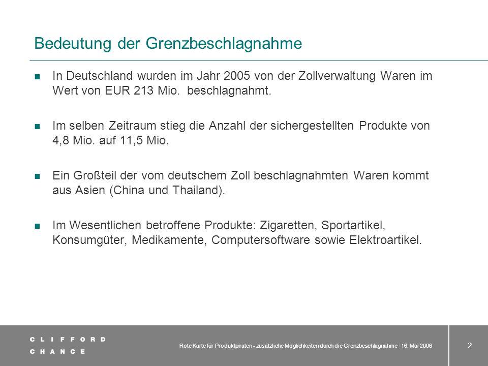 Rote Karte für Produktpiraten - zusätzliche Möglichkeiten durch die Grenzbeschlagnahme · 16. Mai 2006 2 Bedeutung der Grenzbeschlagnahme In Deutschlan