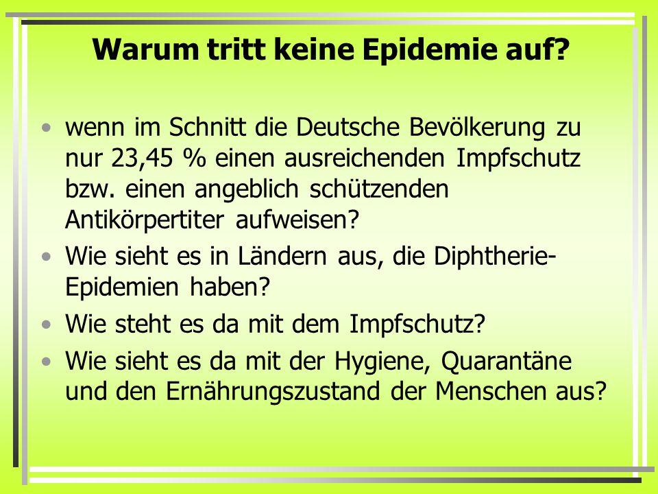 Warum tritt keine Epidemie auf? wenn im Schnitt die Deutsche Bevölkerung zu nur 23,45 % einen ausreichenden Impfschutz bzw. einen angeblich schützende