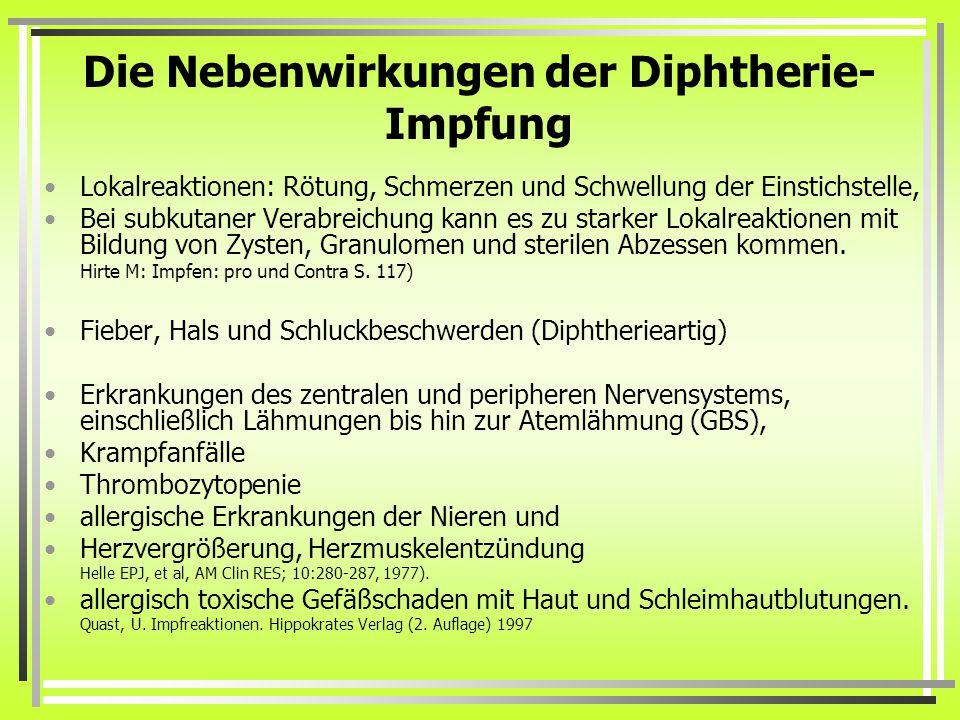Die Nebenwirkungen der Diphtherie- Impfung Lokalreaktionen: Rötung, Schmerzen und Schwellung der Einstichstelle, Bei subkutaner Verabreichung kann es