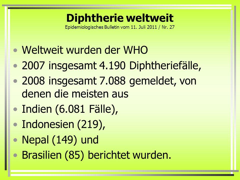 Diphtherie weltweit Epidemiologisches Bulletin vom 11. Juli 2011 / Nr. 27 Weltweit wurden der WHO 2007 insgesamt 4.190 Diphtheriefälle, 2008 insgesamt