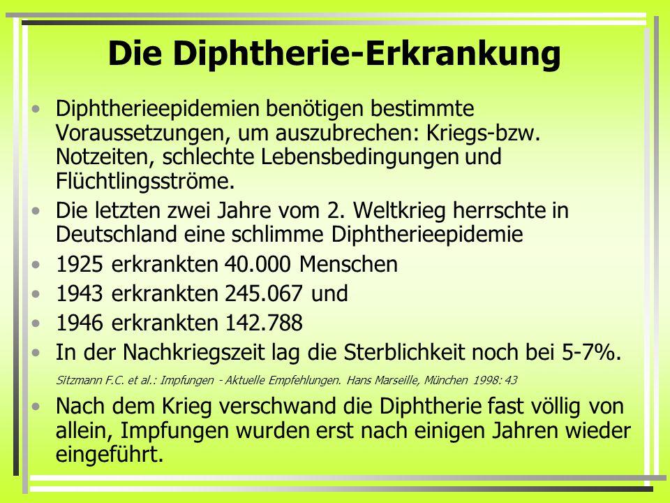 Die Diphtherie-Erkrankung Diphtherieepidemien benötigen bestimmte Voraussetzungen, um auszubrechen: Kriegs-bzw. Notzeiten, schlechte Lebensbedingungen
