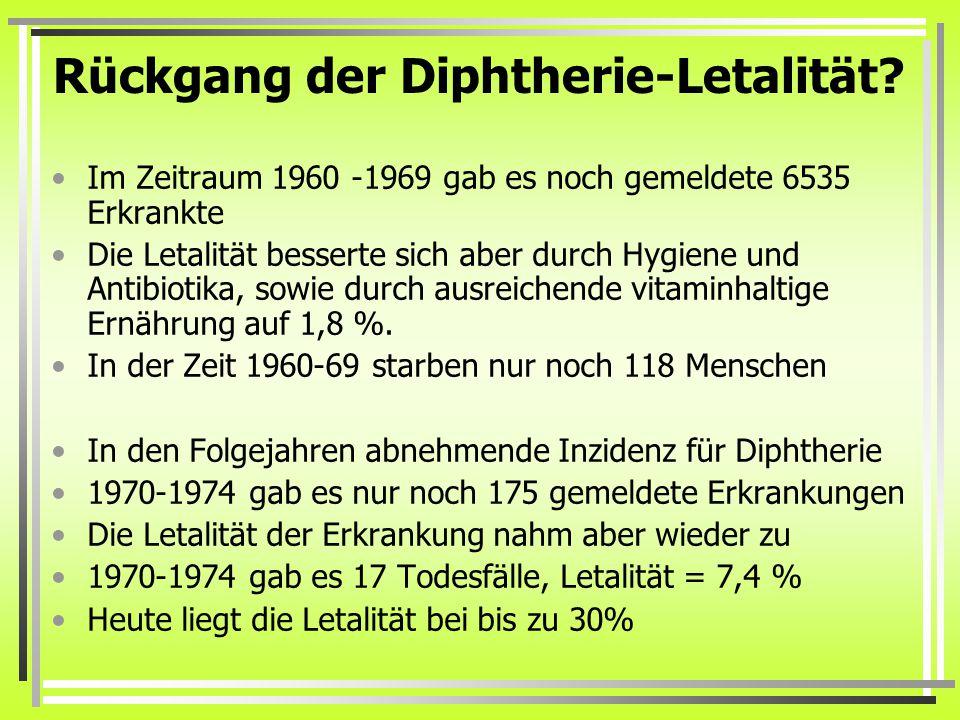 Rückgang der Diphtherie-Letalität? Im Zeitraum 1960 -1969 gab es noch gemeldete 6535 Erkrankte Die Letalität besserte sich aber durch Hygiene und Anti