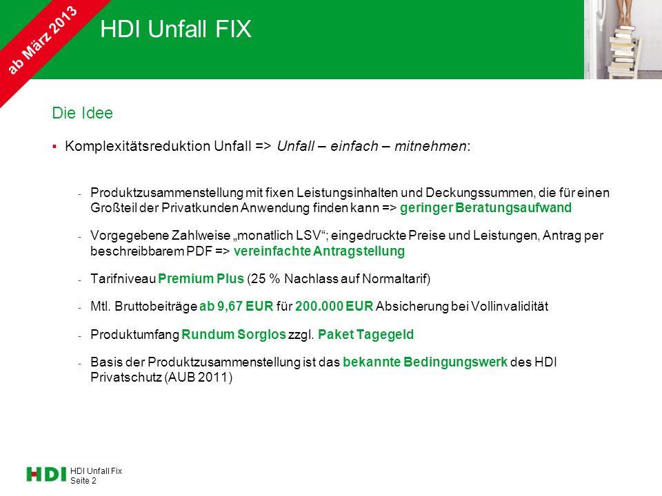 HDI Unfall Fix Seite 2 HDI Unfall FIX Die Idee  Komplexitätsreduktion Unfall => Unfall – einfach – mitnehmen: - Produktzusammenstellung mit fixen Lei