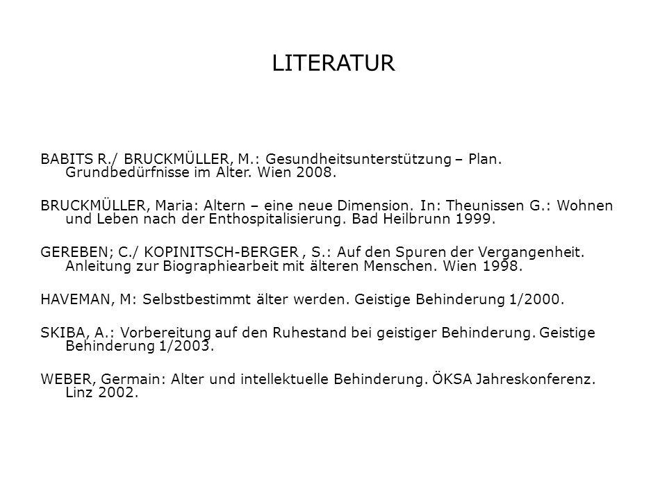 LITERATUR BABITS R./ BRUCKMÜLLER, M.: Gesundheitsunterstützung – Plan.