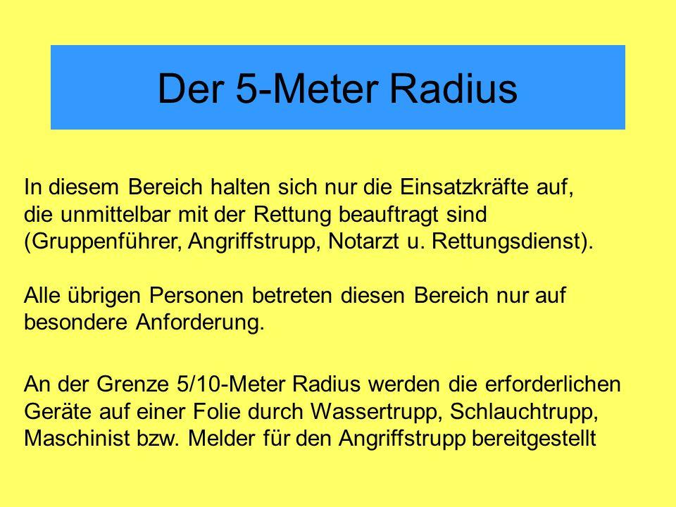 Der 5-Meter Radius In diesem Bereich halten sich nur die Einsatzkräfte auf, die unmittelbar mit der Rettung beauftragt sind (Gruppenführer, Angriffstrupp, Notarzt u.