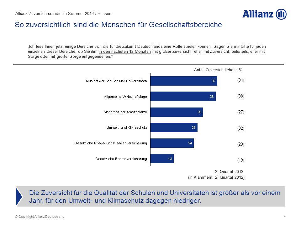 4 Allianz Zuversichtsstudie im Sommer 2013 / Hessen © Copyright Allianz Deutschland So zuversichtlich sind die Menschen für Gesellschaftsbereiche Die Zuversicht für die Qualität der Schulen und Universitäten ist größer als vor einem Jahr, für den Umwelt- und Klimaschutz dagegen niedriger.