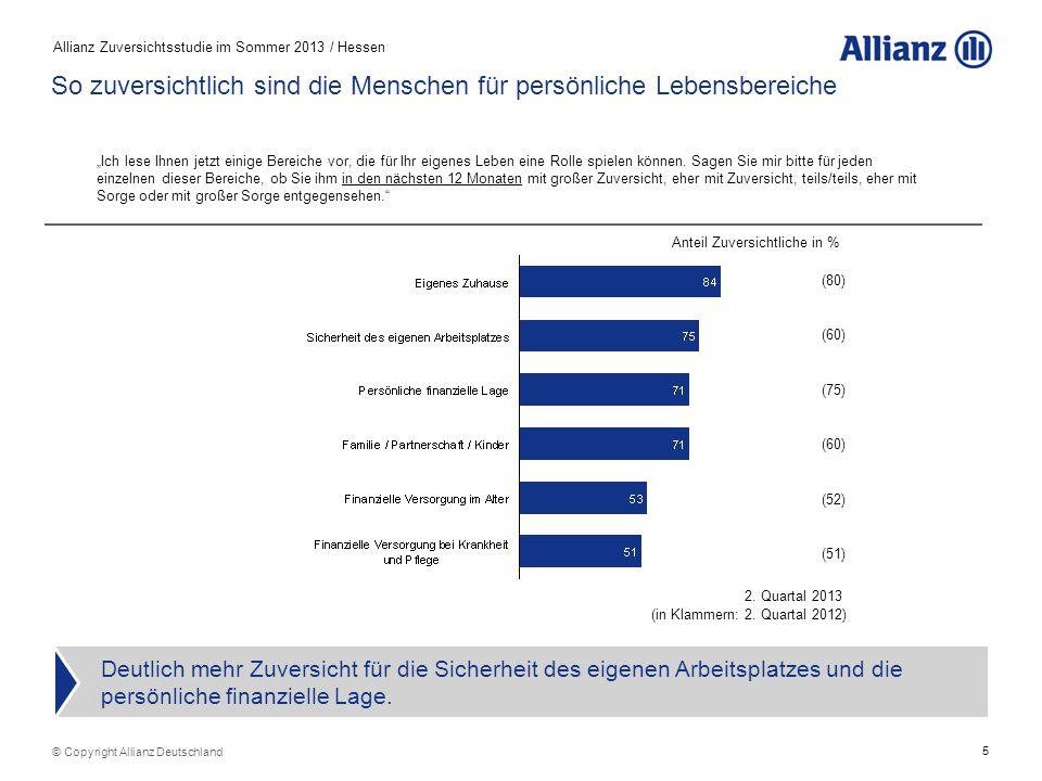 5 Allianz Zuversichtsstudie im Sommer 2013 / Hessen © Copyright Allianz Deutschland So zuversichtlich sind die Menschen für persönliche Lebensbereiche Deutlich mehr Zuversicht für die Sicherheit des eigenen Arbeitsplatzes und die persönliche finanzielle Lage.