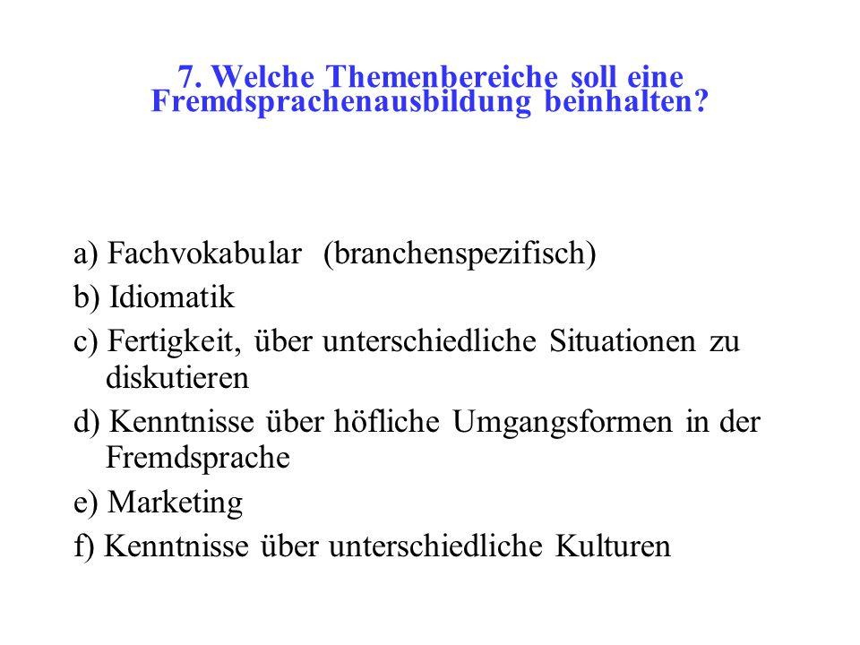 7. Welche Themenbereiche soll eine Fremdsprachenausbildung beinhalten.