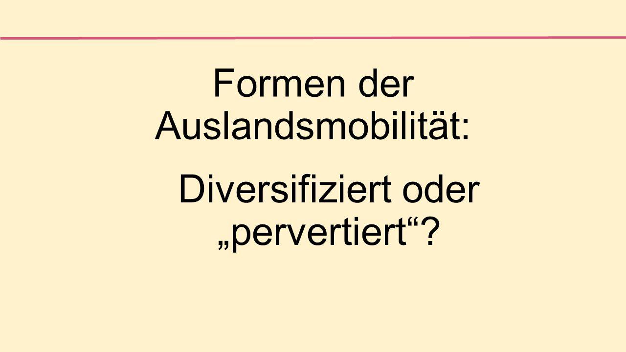 """Formen der Auslandsmobilität: Diversifiziert oder """"pervertiert"""