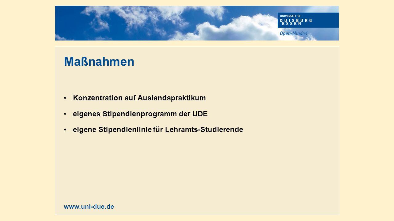 Maßnahmen Konzentration auf Auslandspraktikum eigenes Stipendienprogramm der UDE eigene Stipendienlinie für Lehramts-Studierende www.uni-due.de