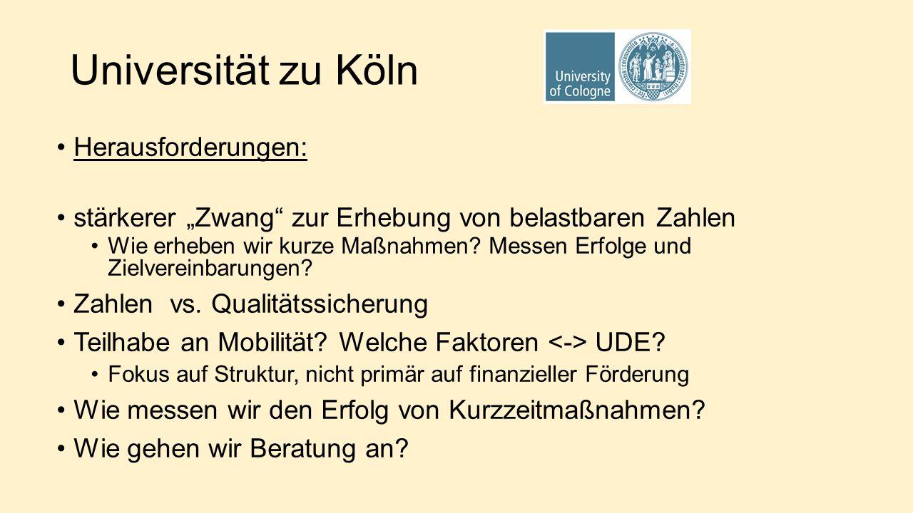 """Universität zu Köln Herausforderungen: stärkerer """"Zwang zur Erhebung von belastbaren Zahlen Wie erheben wir kurze Maßnahmen."""