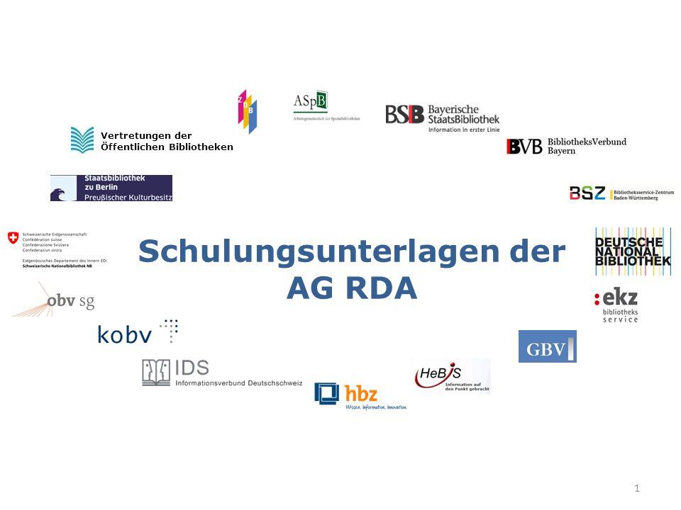 Schulungsunterlagen der AG RDA Vertretungen der Öffentlichen Bibliotheken 1