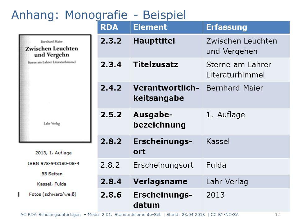 Anhang: Monografie - Beispiel 12 AG RDA Schulungsunterlagen – Modul 2.01: Standardelemente-Set | Stand: 23.04.2015 | CC BY-NC-SA RDAElementErfassung 2