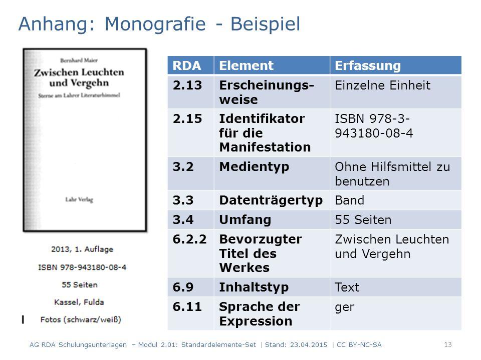 Anhang: Monografie - Beispiel 13 RDAElementErfassung 2.13Erscheinungs- weise Einzelne Einheit 2.15Identifikator für die Manifestation ISBN 978-3- 9431