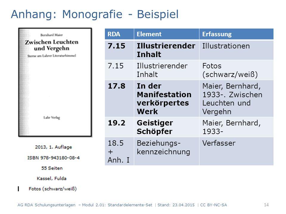 Anhang: Monografie - Beispiel 14 AG RDA Schulungsunterlagen – Modul 2.01: Standardelemente-Set | Stand: 23.04.2015 | CC BY-NC-SA RDAElementErfassung 7