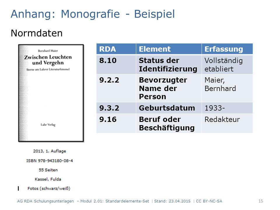 Anhang: Monografie - Beispiel Normdaten 15 RDAElementErfassung 8.10Status der Identifizierung Vollständig etabliert 9.2.2Bevorzugter Name der Person M