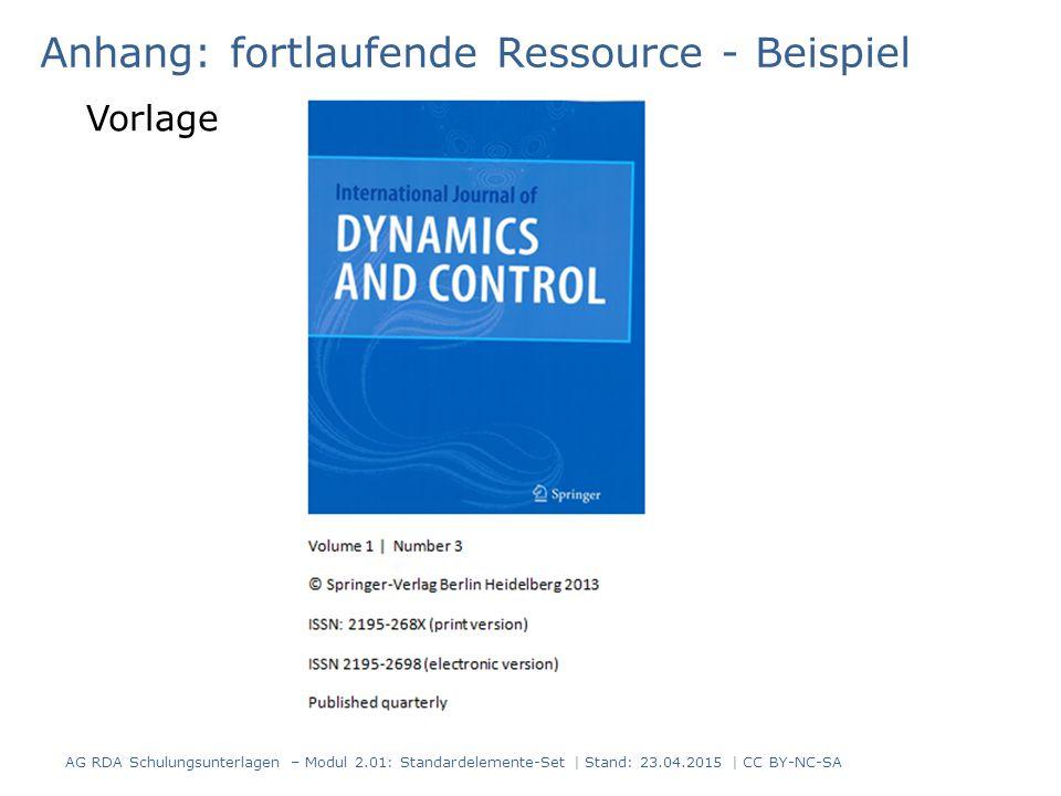 Anhang: fortlaufende Ressource - Beispiel Vorlage AG RDA Schulungsunterlagen – Modul 2.01: Standardelemente-Set | Stand: 23.04.2015 | CC BY-NC-SA