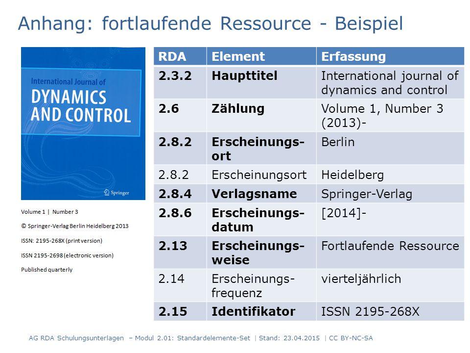 Anhang: fortlaufende Ressource - Beispiel RDAElementErfassung 2.3.2HaupttitelInternational journal of dynamics and control 2.6ZählungVolume 1, Number