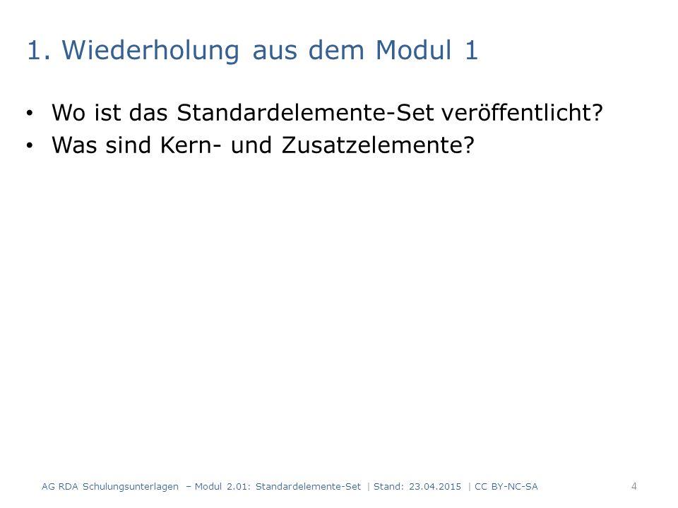 1. Wiederholung aus dem Modul 1 Wo ist das Standardelemente-Set veröffentlicht? Was sind Kern- und Zusatzelemente? 4 AG RDA Schulungsunterlagen – Modu