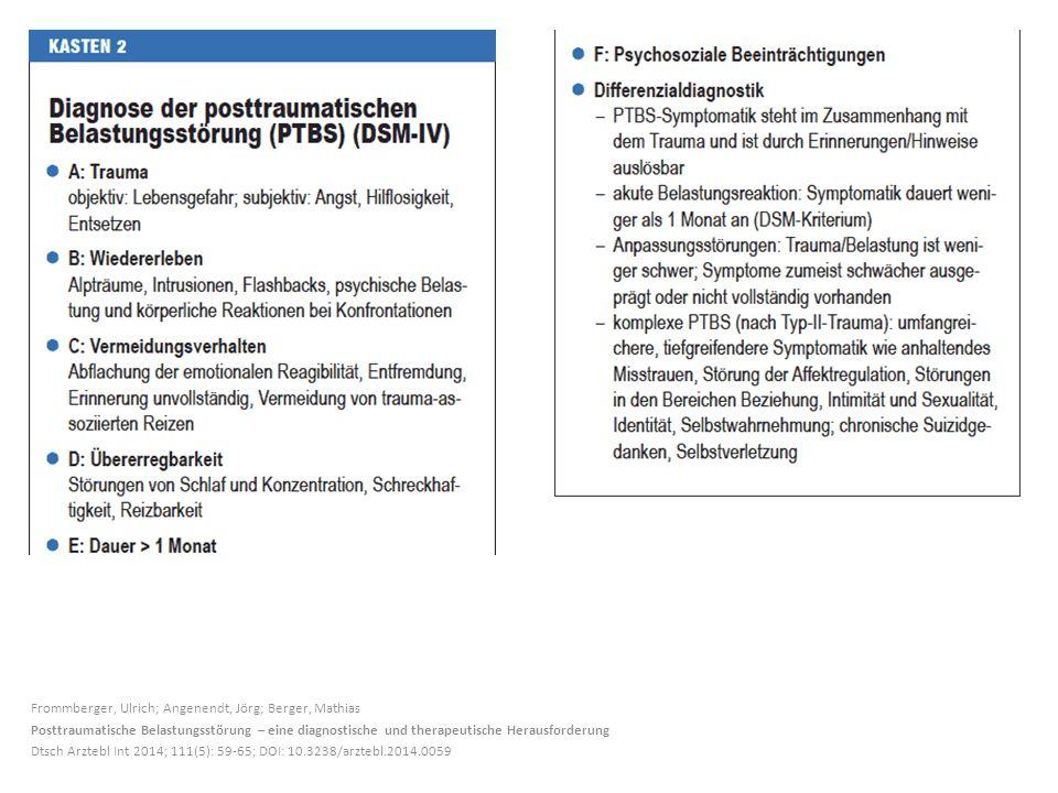 Frommberger, Ulrich; Angenendt, Jörg; Berger, Mathias Posttraumatische Belastungsstörung – eine diagnostische und therapeutische Herausforderung Dtsch