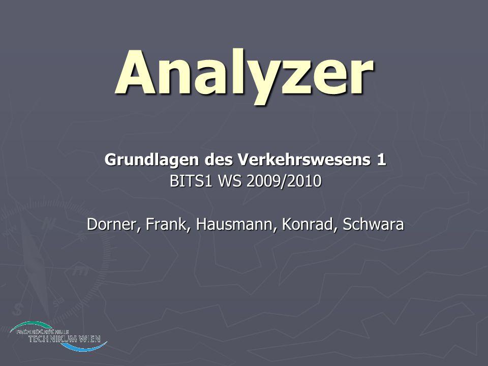 Analyzer Grundlagen des Verkehrswesens 1 BITS1 WS 2009/2010 Dorner, Frank, Hausmann, Konrad, Schwara