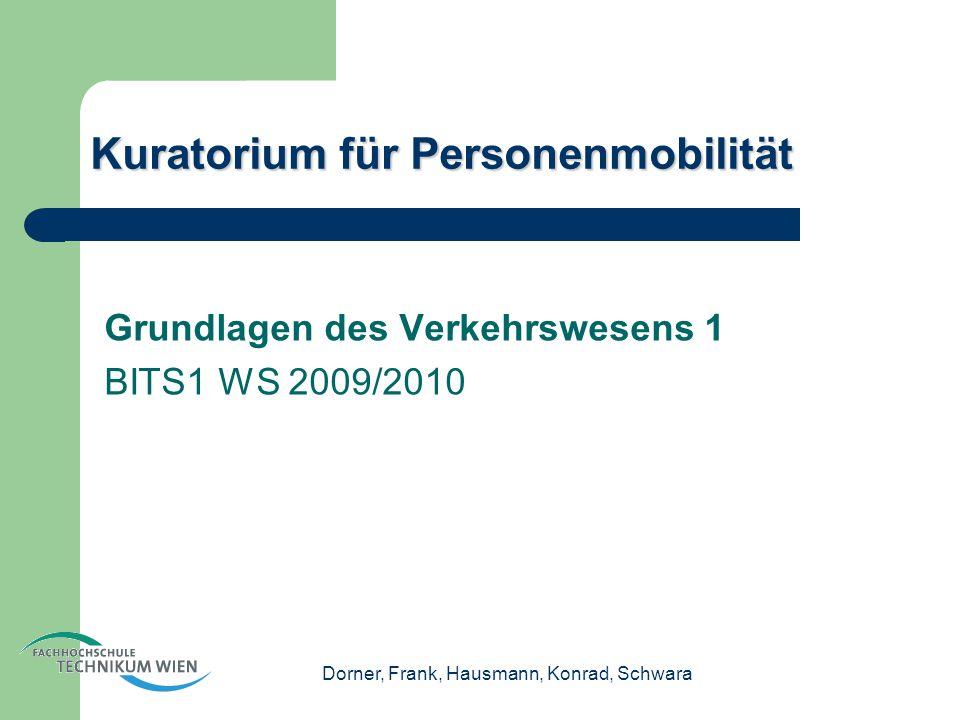 Dorner, Frank, Hausmann, Konrad, Schwara Kuratorium für Personenmobilität Grundlagen des Verkehrswesens 1 BITS1 WS 2009/2010