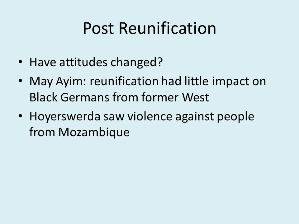 Post Reunification Have attitudes changed.