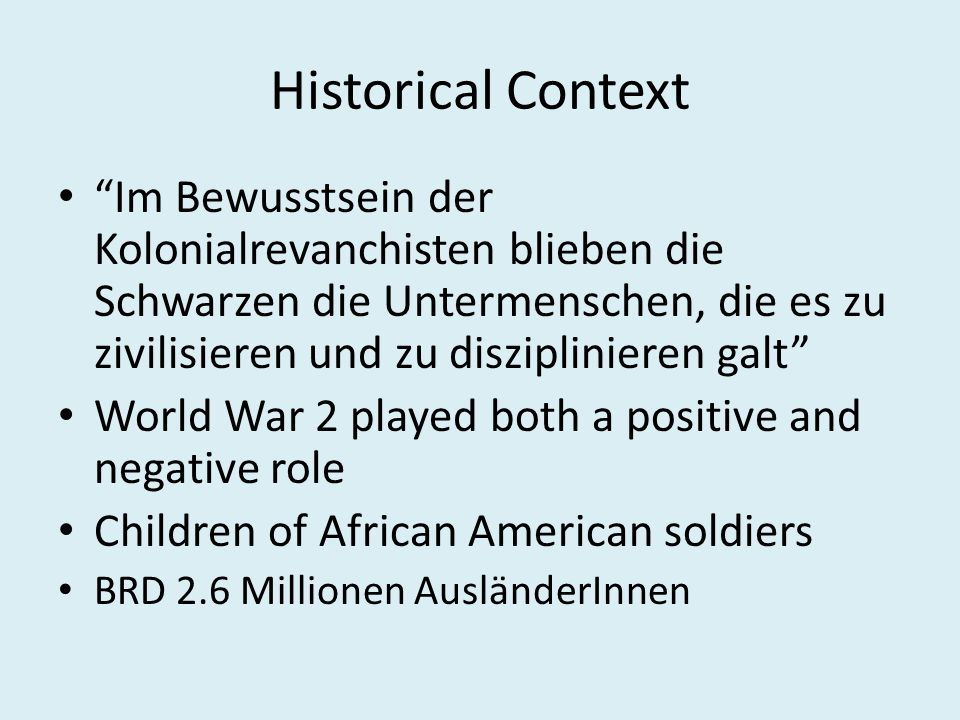 West German Conclusion Hard to find identity Marginalisation – perhaps because of living in city.