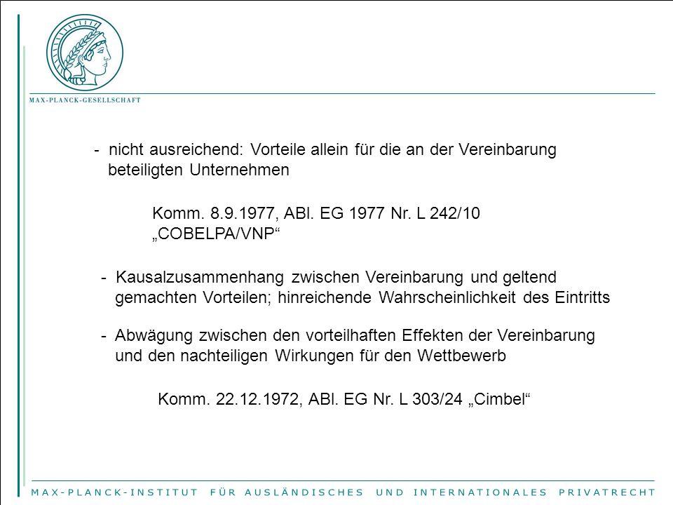"""- nicht ausreichend: Vorteile allein für die an der Vereinbarung beteiligten Unternehmen Komm. 8.9.1977, ABl. EG 1977 Nr. L 242/10 """"COBELPA/VNP"""" - Kau"""