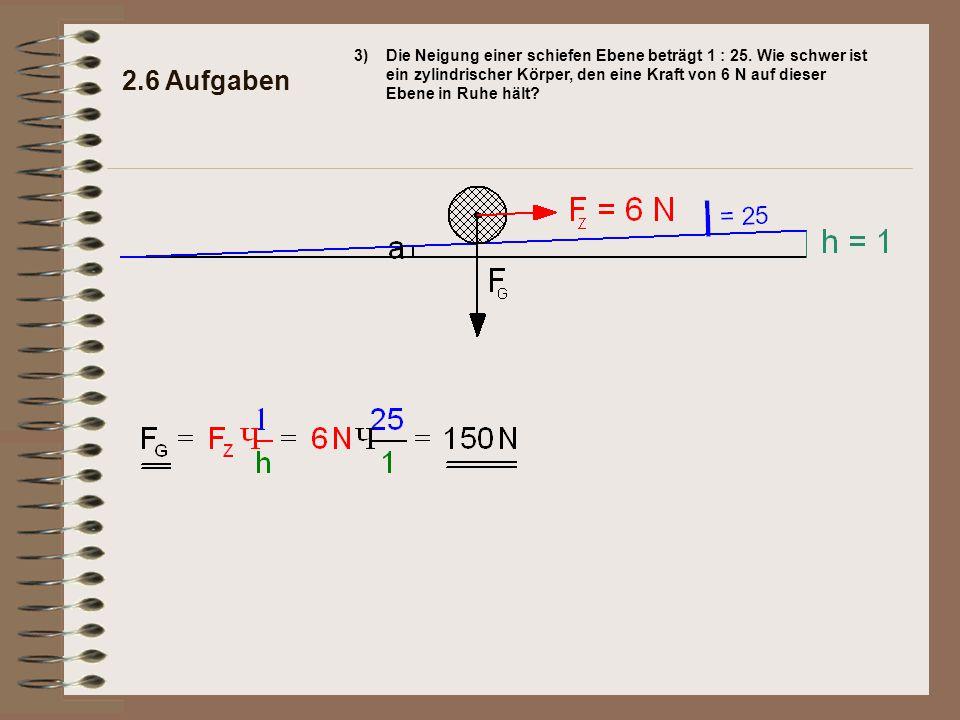 2.6 Aufgaben Der zylindrische Körper wiegt 150 N.