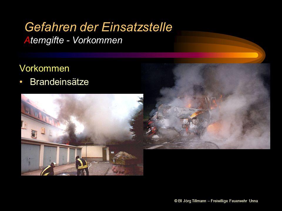 © BI Jörg Tillmann – Freiwillige Feuerwehr Unna Vorkommen Brandeinsätze Gefahren der Einsatzstelle Atemgifte - Vorkommen