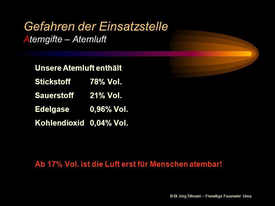 © BI Jörg Tillmann – Freiwillige Feuerwehr Unna Unsere Atemluft enthält Stickstoff78% Vol.