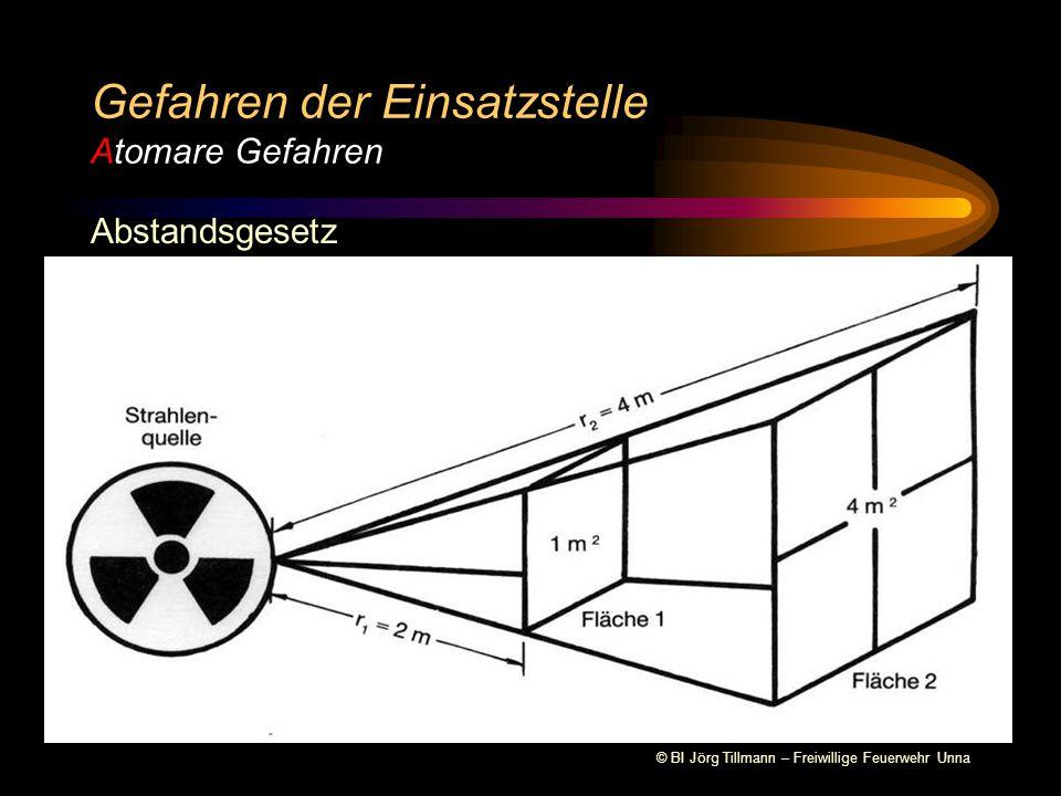 © BI Jörg Tillmann – Freiwillige Feuerwehr Unna Schutzmaßnahmen Abstand halten (mindestens 25 m) Gefahren der Einsatzstelle Atomare Gefahren