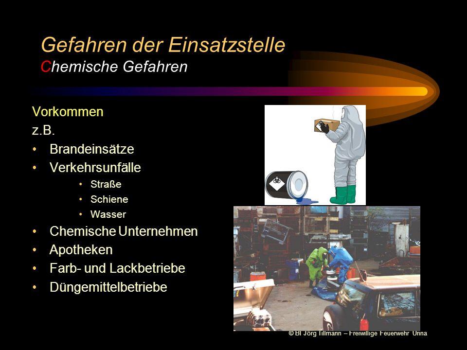 © BI Jörg Tillmann – Freiwillige Feuerwehr Unna Gefahren der Einsatzstelle Gefahrenschema A A A A C E E E E usbreitung temgifte tomare Gefahren ngstreaktion hemische Gefahren