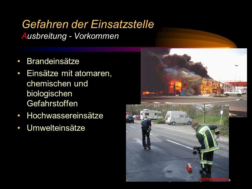 © BI Jörg Tillmann – Freiwillige Feuerwehr Unna Gefahren der Einsatzstelle Gefahrenschema A A A A C E E E E usbreitung