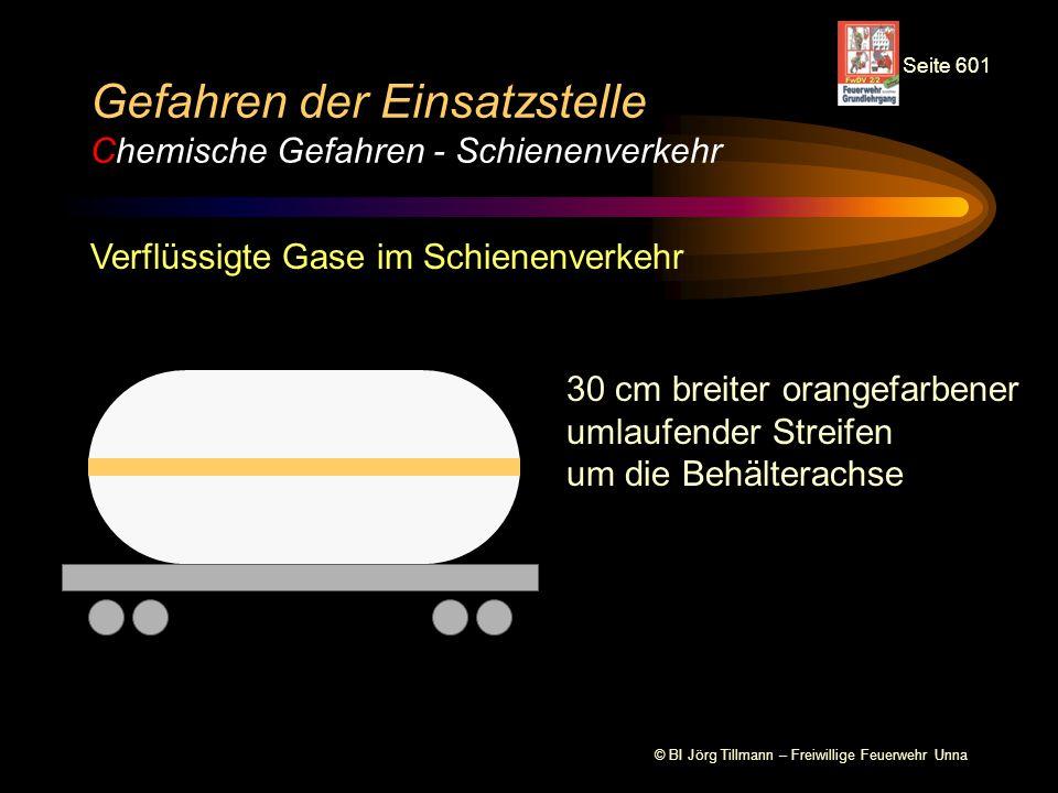 © BI Jörg Tillmann – Freiwillige Feuerwehr Unna Gefahren der Einsatzstelle Chemische Gefahren - Schienenverkehr Verflüssigte Gase im Schienenverkehr 30 cm breiter orangefarbener umlaufender Streifen um die Behälterachse Seite 601