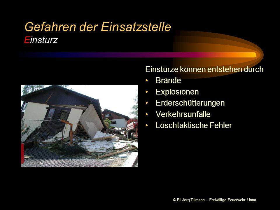 © BI Jörg Tillmann – Freiwillige Feuerwehr Unna Vorkommen Brandeinsätze Technische Hilfeleistung Nach Explosionen Einsätze in Höhen Gefahren der Einsatzstelle Einsturz