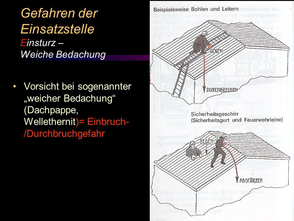 """© BI Jörg Tillmann – Freiwillige Feuerwehr Unna Vorsicht bei sogenannter """"weicher Bedachung (Dachpappe, Wellethernit)= Einbruch- /Durchbruchgefahr Gefahren der Einsatzstelle Einsturz – Weiche Bedachung"""