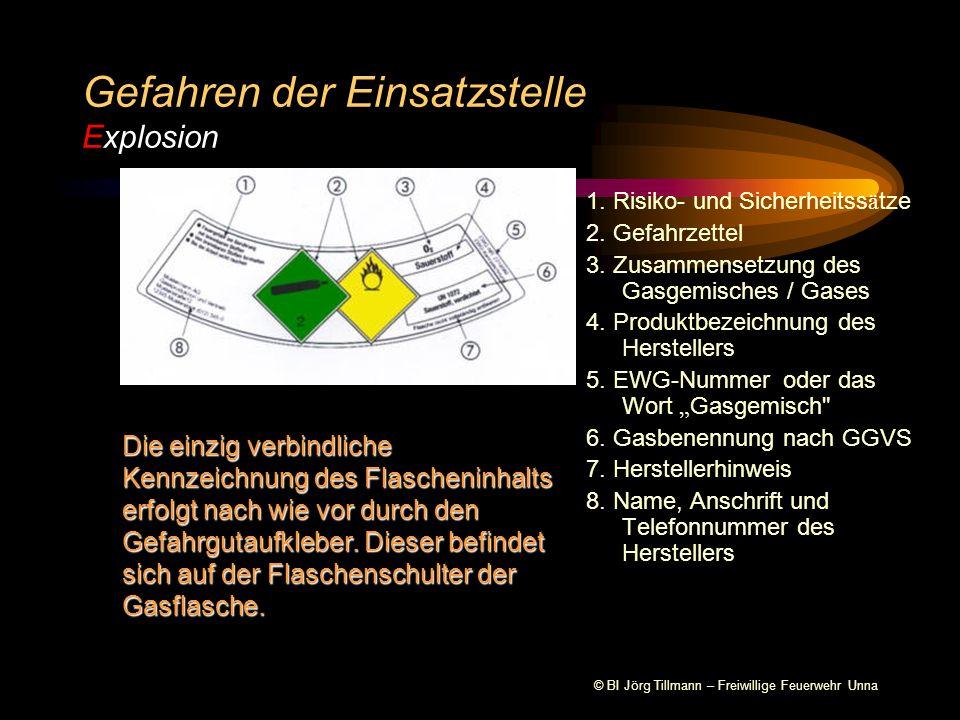 © BI Jörg Tillmann – Freiwillige Feuerwehr Unna Gefahren der Einsatzstelle Explosion 1.