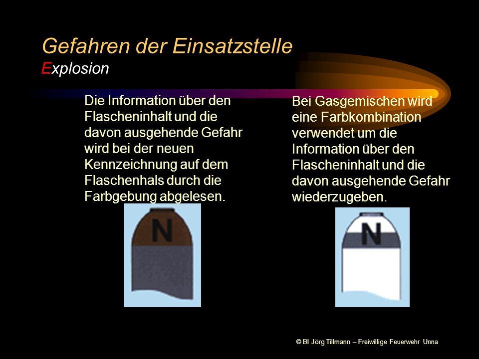 © BI Jörg Tillmann – Freiwillige Feuerwehr Unna Gefahren der Einsatzstelle Explosion Die Information über den Flascheninhalt und die davon ausgehende Gefahr wird bei der neuen Kennzeichnung auf dem Flaschenhals durch die Farbgebung abgelesen.