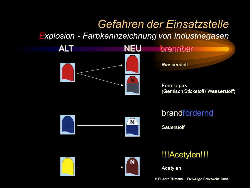 © BI Jörg Tillmann – Freiwillige Feuerwehr Unna Gefahren der Einsatzstelle Explosion - Farbkennzeichnung von Industriegasen ALT NEU brennbar Wasserstoff Formiergas (Gemisch Stickstoff / Wasserstoff) brandfördernd Sauerstoff !!!Acetylen!!.