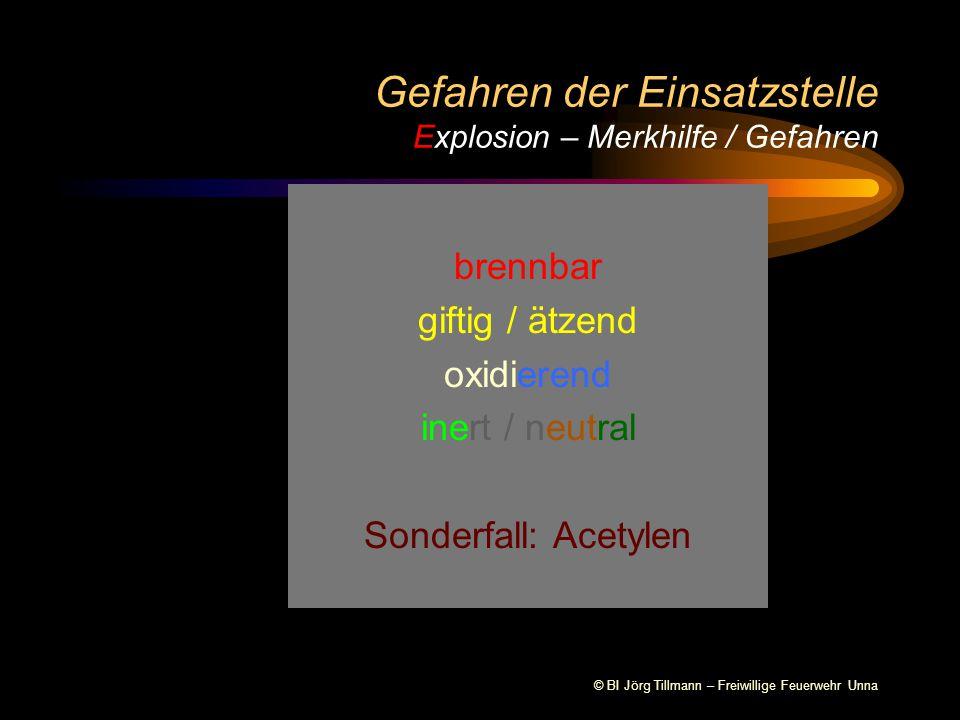 © BI Jörg Tillmann – Freiwillige Feuerwehr Unna Gefahren der Einsatzstelle Explosion - Farbkennzeichnung von medizinischen Gasen ALT NEU Kohlendioxid med.
