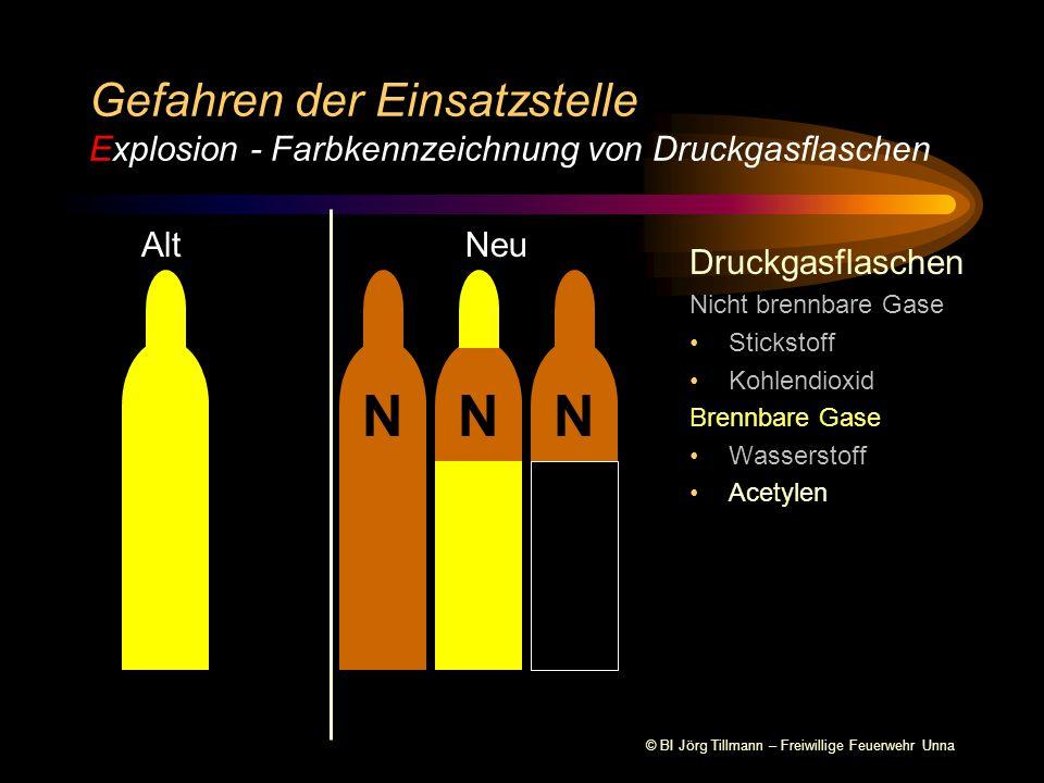 © BI Jörg Tillmann – Freiwillige Feuerwehr Unna Druckgasflaschen Nicht brennbare Gase Stickstoff Gefahren der Einsatzstelle Explosion - Farbkennzeichnung von Druckgasflaschen AltNeu NNN