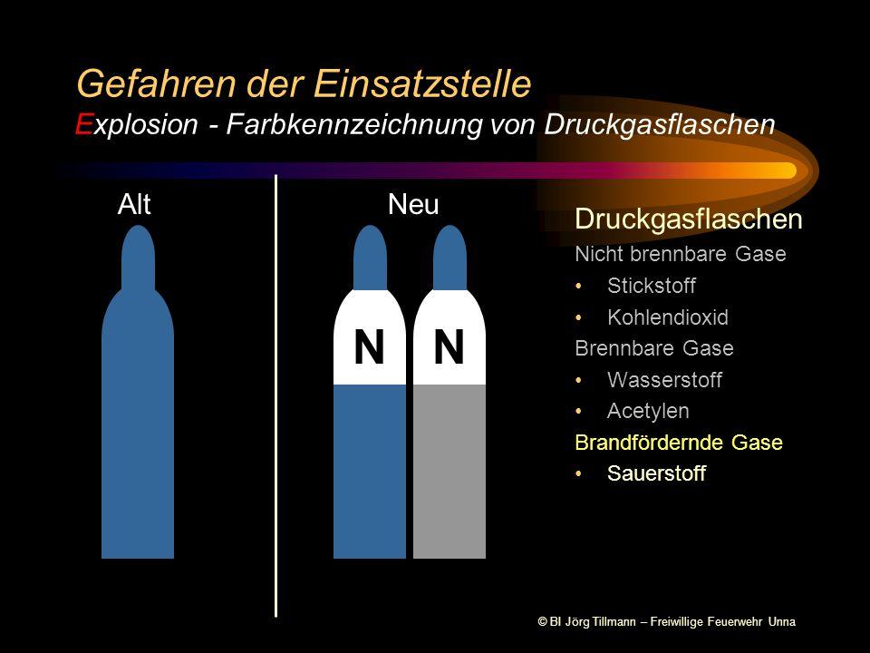 © BI Jörg Tillmann – Freiwillige Feuerwehr Unna Druckgasflaschen Nicht brennbare Gase Stickstoff Kohlendioxid Brennbare Gase Wasserstoff Acetylen Gefahren der Einsatzstelle Explosion - Farbkennzeichnung von Druckgasflaschen AltNeu NNN
