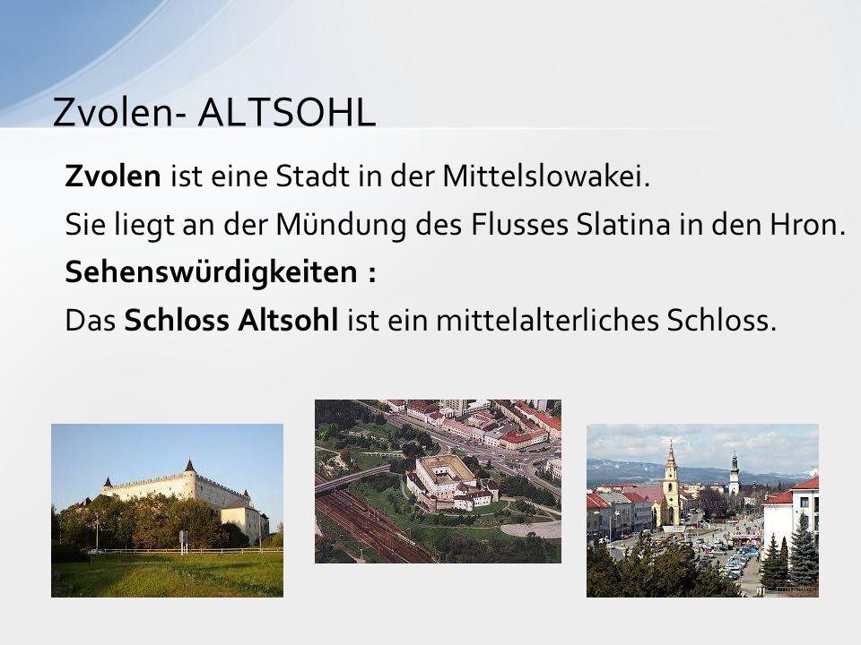 Zvolen ist eine Stadt in der Mittelslowakei. Sie liegt an der Mündung des Flusses Slatina in den Hron. Sehenswürdigkeiten : Das Schloss Altsohl ist ei