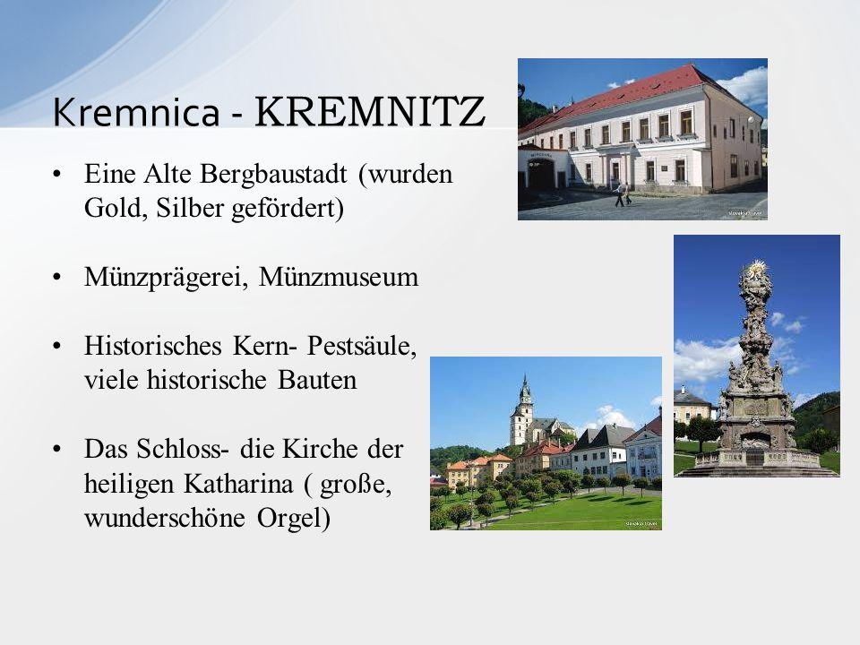Eine Alte Bergbaustadt (wurden Gold, Silber gefördert) Münzprägerei, Münzmuseum Historisches Kern- Pestsäule, viele historische Bauten Das Schloss- di