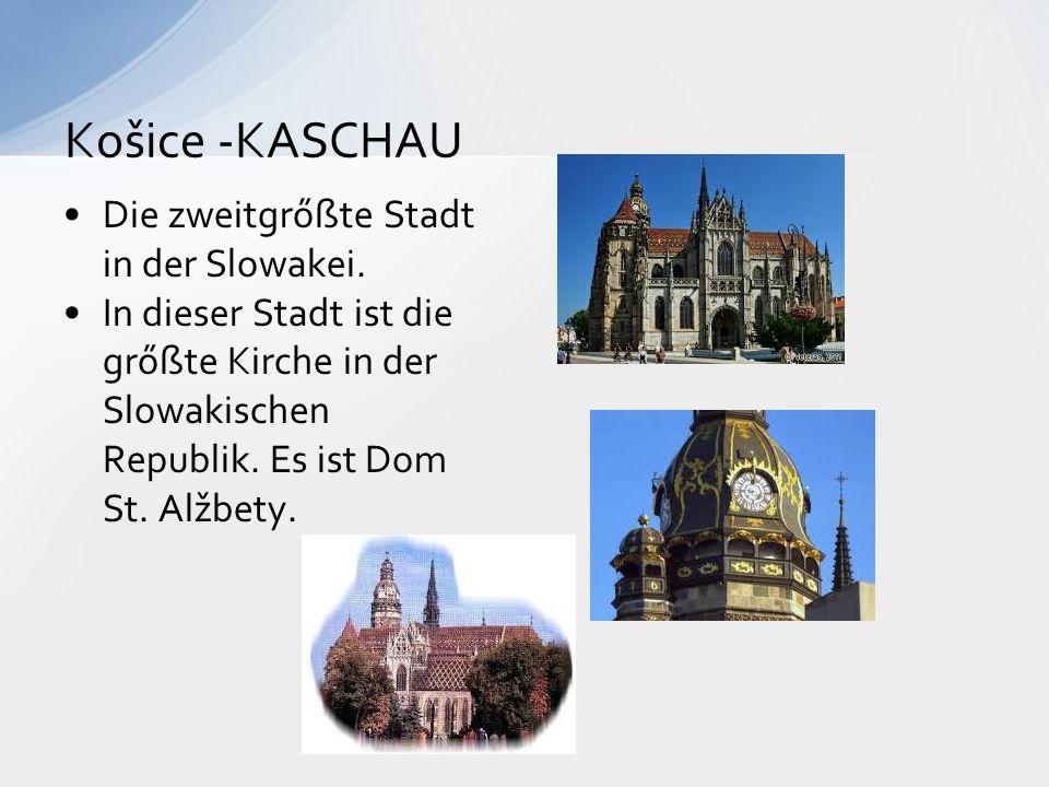 Die zweitgrőßte Stadt in der Slowakei. In dieser Stadt ist die grőßte Kirche in der Slowakischen Republik. Es ist Dom St. Alžbety. Košice -KASCHAU