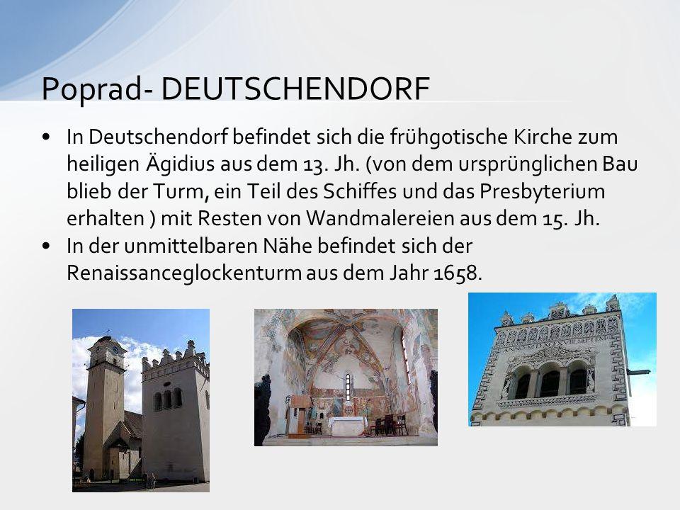 In Deutschendorf befindet sich die frühgotische Kirche zum heiligen Ägidius aus dem 13. Jh. (von dem ursprünglichen Bau blieb der Turm, ein Teil des S